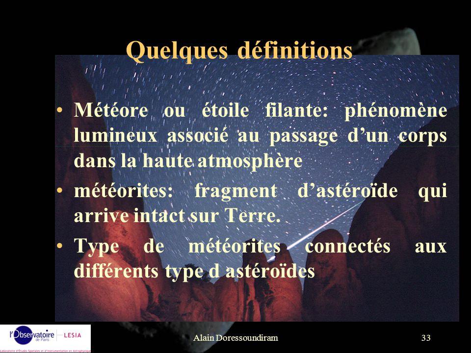Quelques définitions Météore ou étoile filante: phénomène lumineux associé au passage d'un corps dans la haute atmosphère.