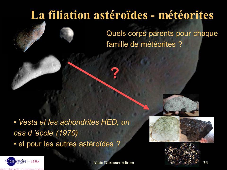 La filiation astéroïdes - météorites