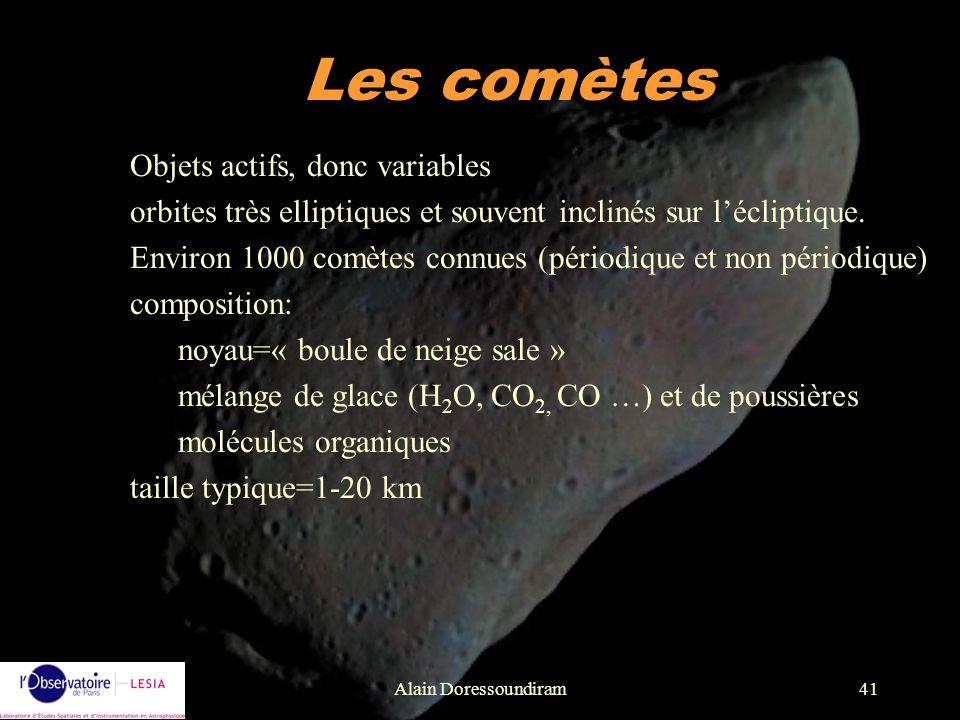 Les comètes Objets actifs, donc variables