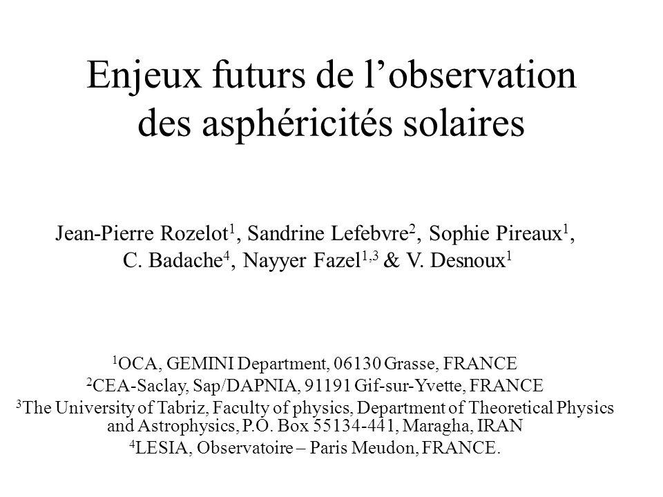 Enjeux futurs de l'observation des asphéricités solaires
