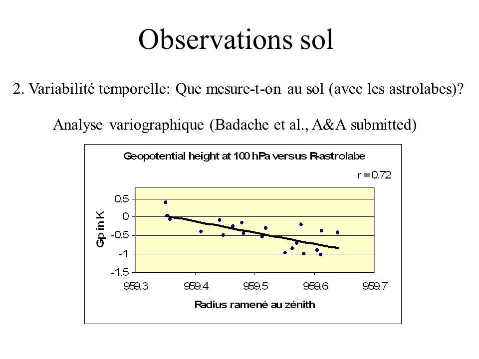 Observations sol 2. Variabilité temporelle: Que mesure-t-on au sol (avec les astrolabes).