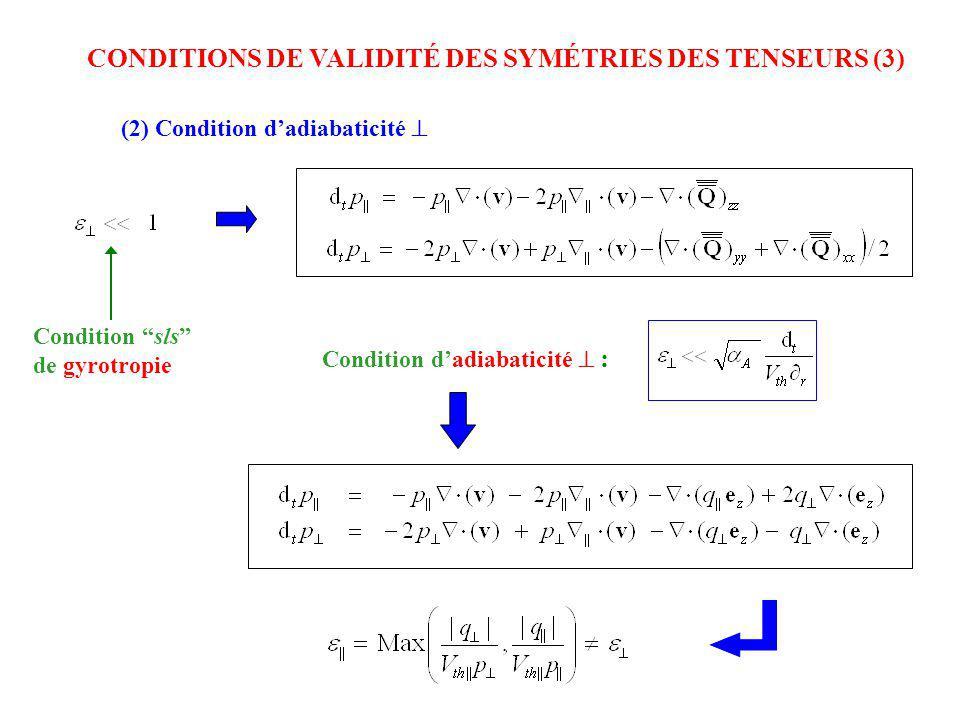 CONDITIONS DE VALIDITÉ DES SYMÉTRIES DES TENSEURS (3)