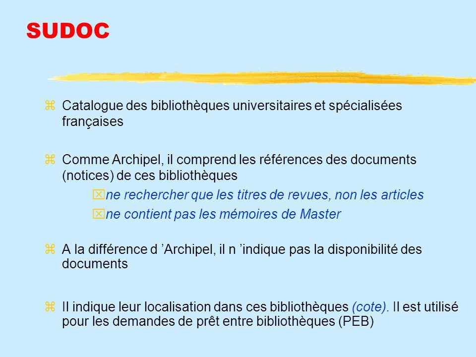 SUDOC Catalogue des bibliothèques universitaires et spécialisées françaises.