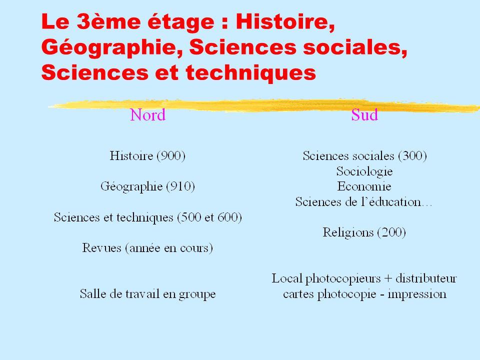 Le 3ème étage : Histoire, Géographie, Sciences sociales, Sciences et techniques