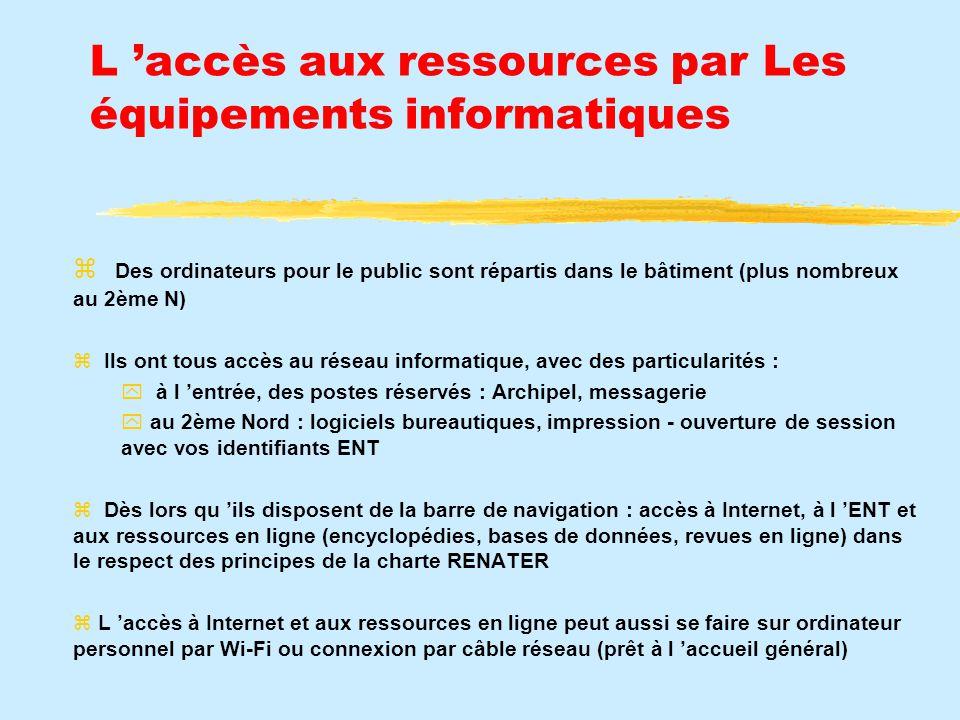 L 'accès aux ressources par Les équipements informatiques