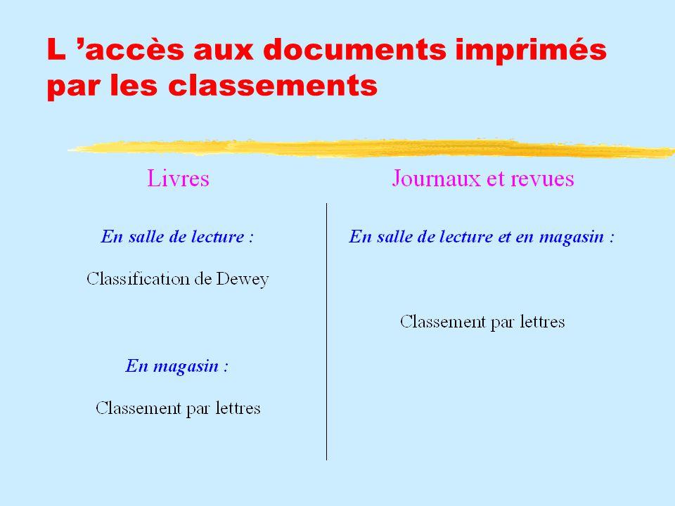 L 'accès aux documents imprimés par les classements
