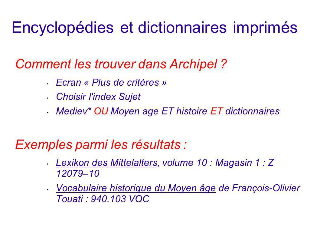 Encyclopédies et dictionnaires imprimés