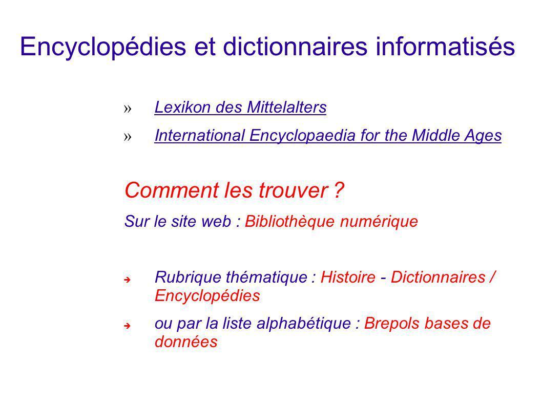 Encyclopédies et dictionnaires informatisés