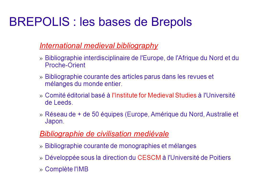 BREPOLIS : les bases de Brepols