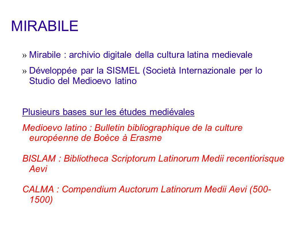 MIRABILE Mirabile : archivio digitale della cultura latina medievale