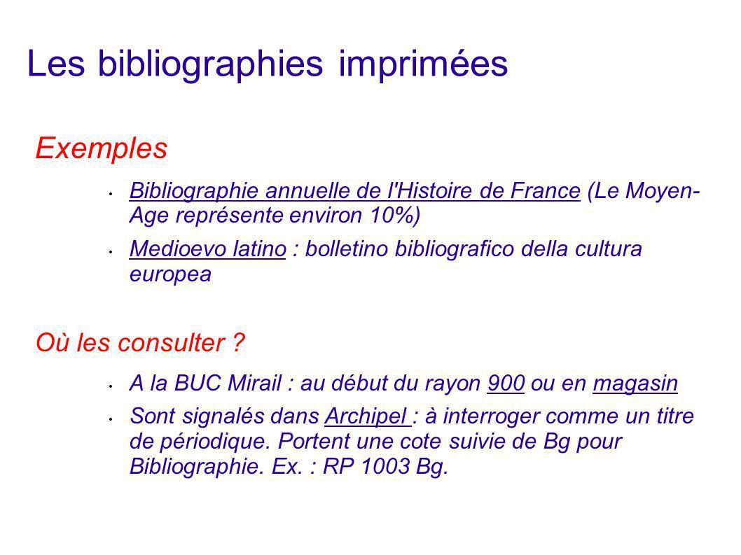 Les bibliographies imprimées
