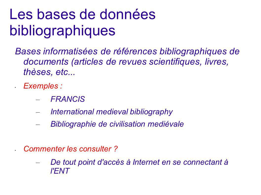 Les bases de données bibliographiques