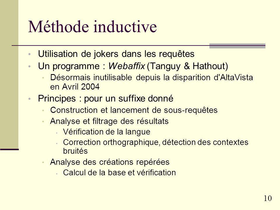 Méthode inductive Utilisation de jokers dans les requêtes