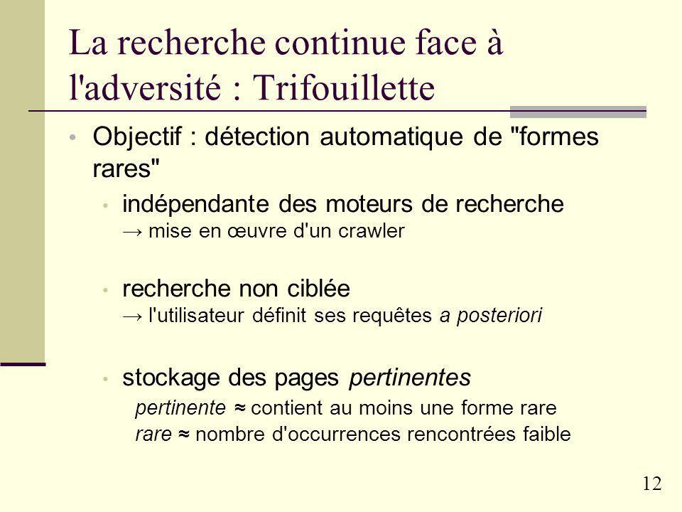 La recherche continue face à l adversité : Trifouillette