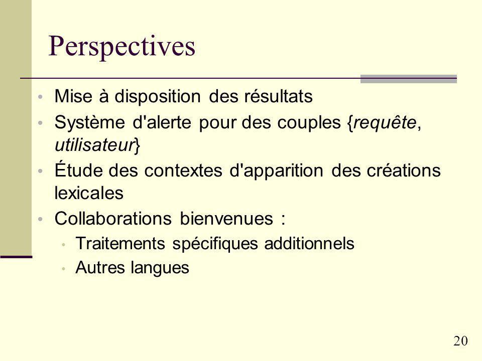 Perspectives Mise à disposition des résultats
