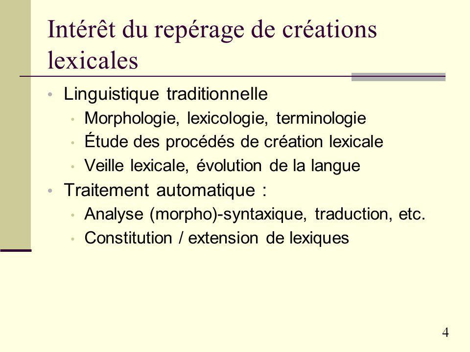 Intérêt du repérage de créations lexicales