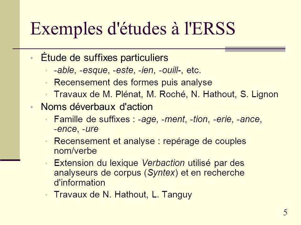 Exemples d études à l ERSS