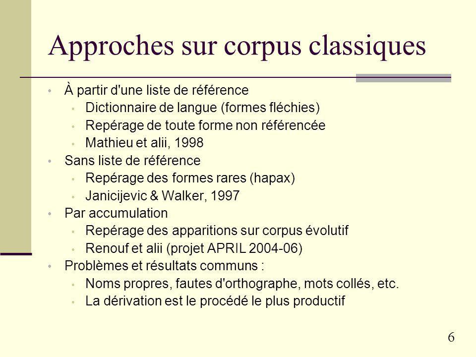 Approches sur corpus classiques