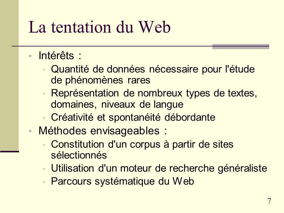 La tentation du Web Intérêts : Méthodes envisageables :