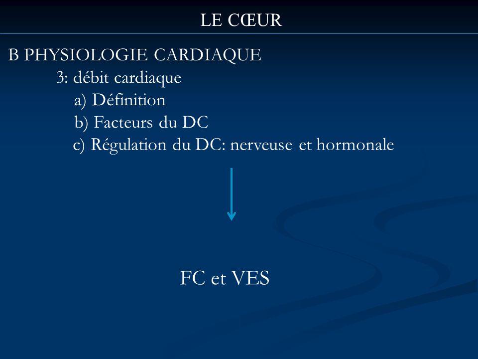 FC et VES LE CŒUR B PHYSIOLOGIE CARDIAQUE 3: débit cardiaque
