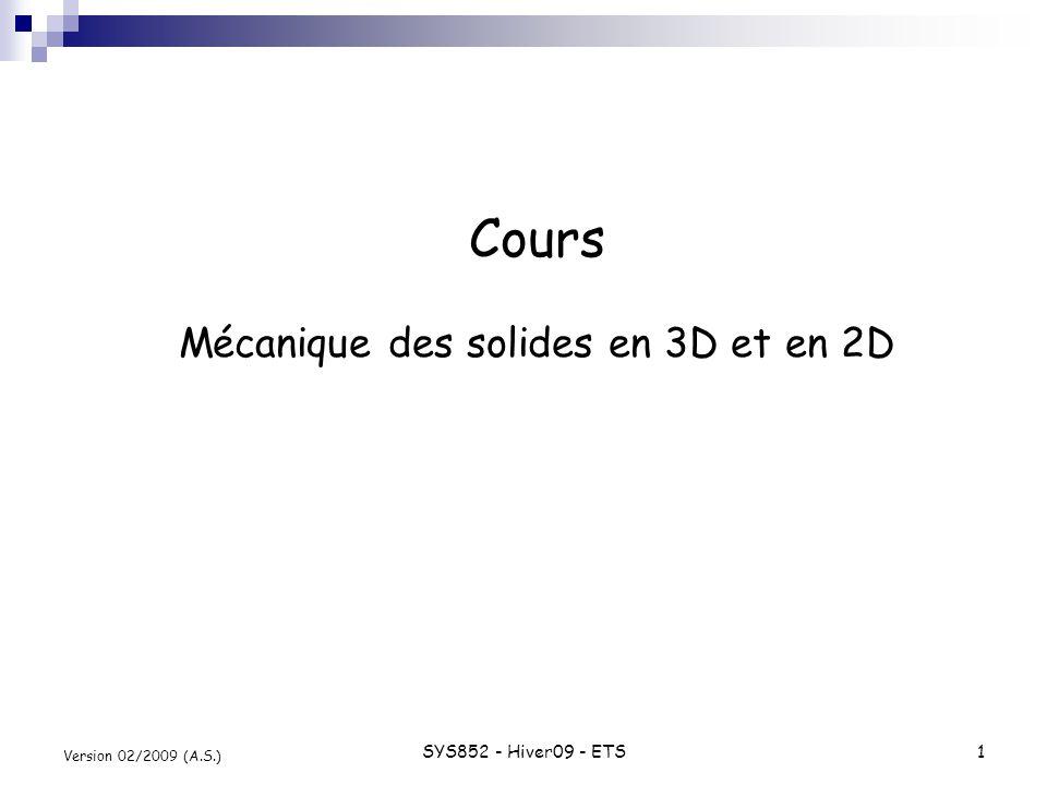 Cours Mécanique des solides en 3D et en 2D