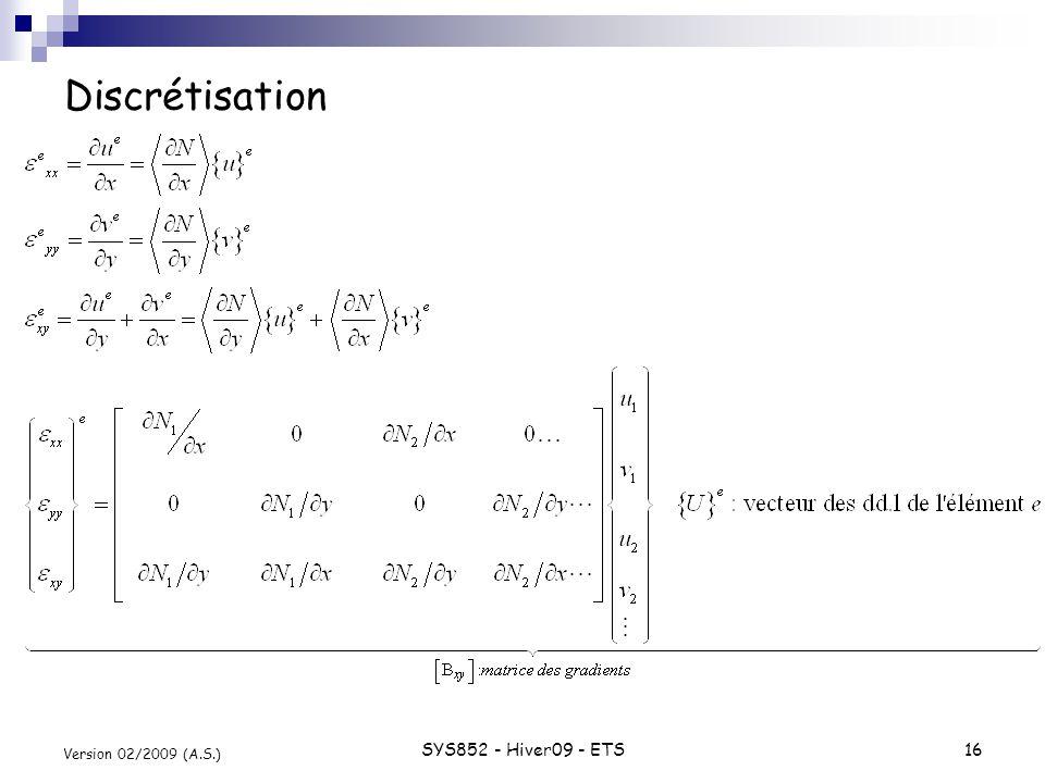 Discrétisation Version 02/2009 (A.S.) SYS852 - Hiver09 - ETS