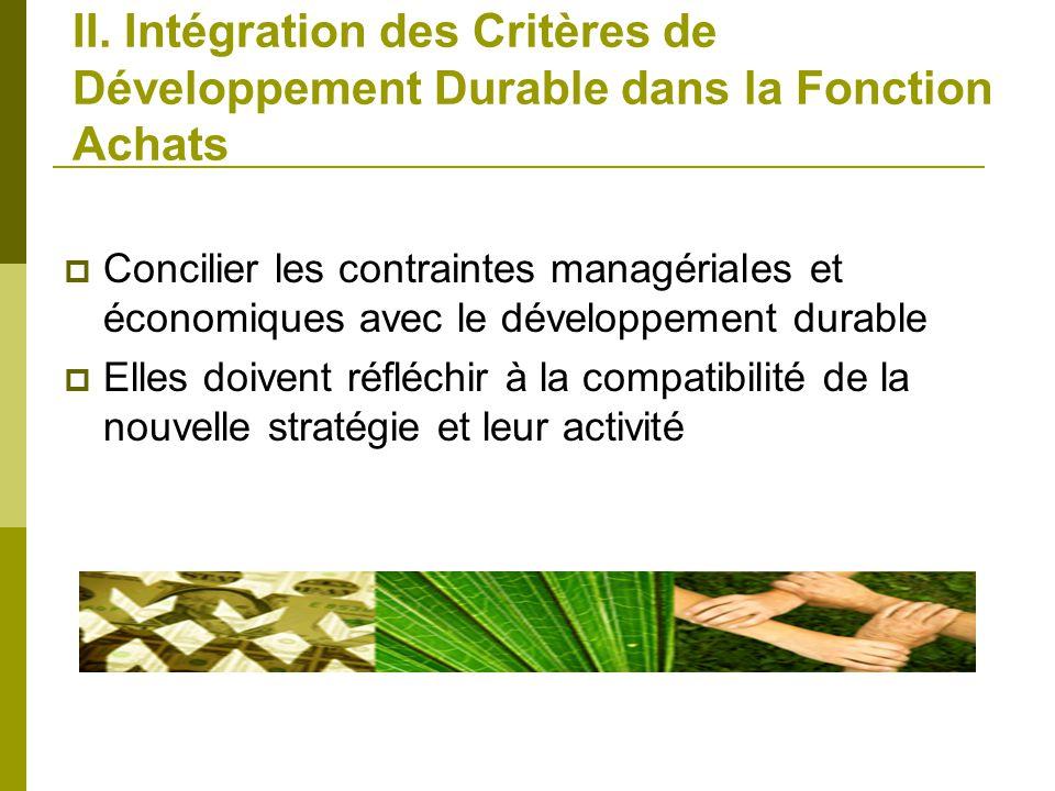 II. Intégration des Critères de Développement Durable dans la Fonction Achats