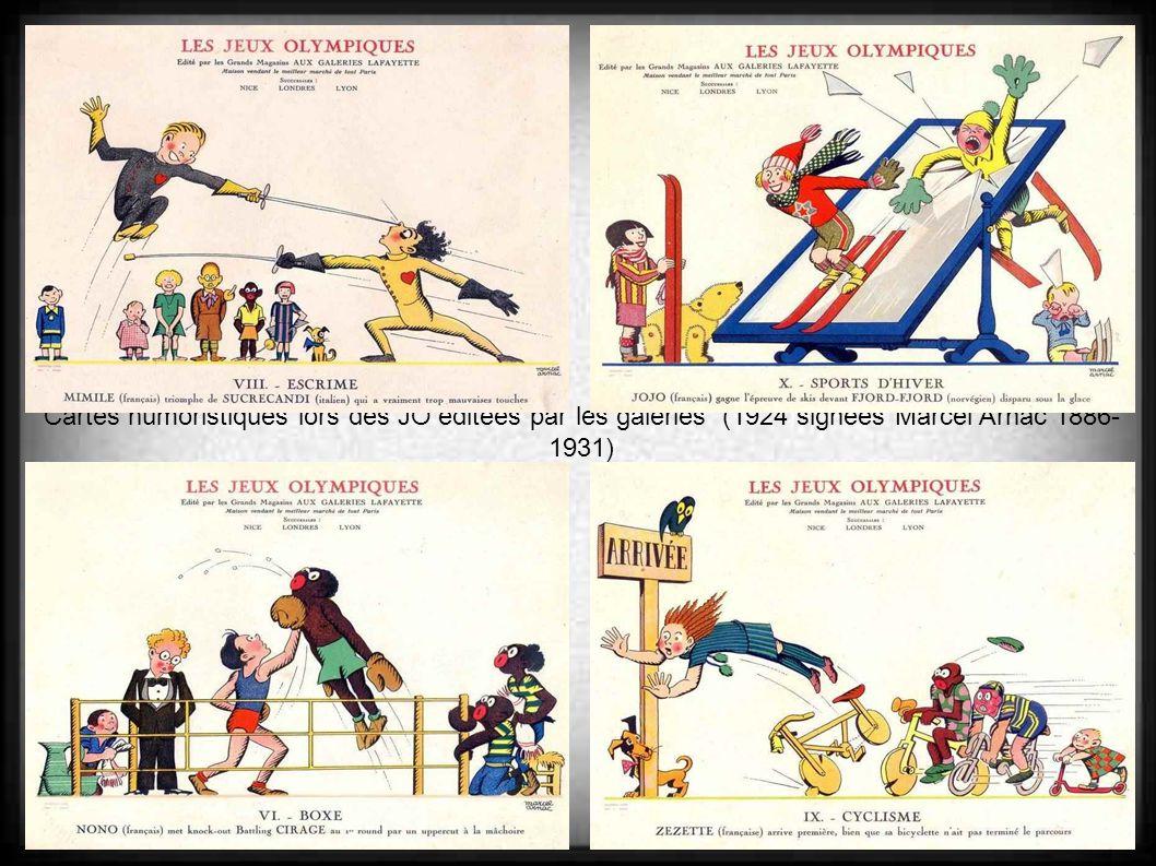 Cartes humoristiques lors des JO éditées par les galeries (1924 signées Marcel Arnac 1886-1931)