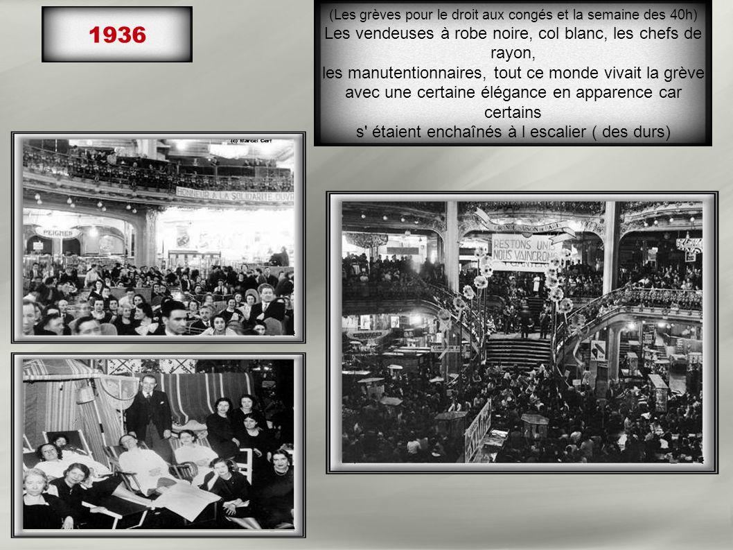 1936 Les vendeuses à robe noire, col blanc, les chefs de rayon,