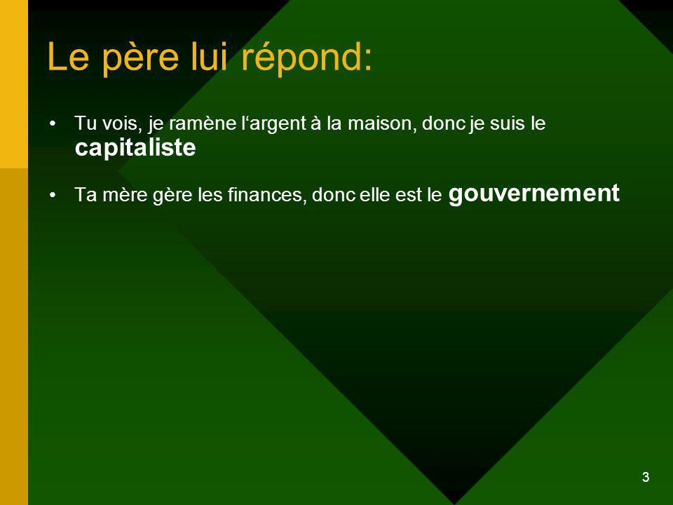 Le père lui répond: Tu vois, je ramène l'argent à la maison, donc je suis le capitaliste. Ta mère gère les finances, donc elle est le gouvernement.