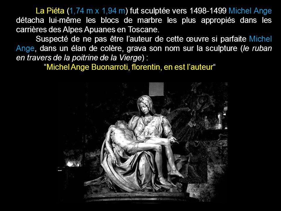 La Piéta (1,74 m x 1,94 m) fut sculptée vers 1498-1499 Michel Ange détacha lui-même les blocs de marbre les plus appropiés dans les carrières des Alpes Apuanes en Toscane.