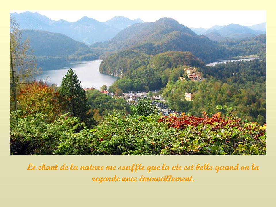 Le chant de la nature me souffle que la vie est belle quand on la regarde avec émerveillement.