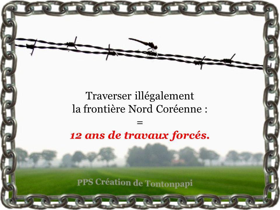 Traverser illégalement la frontière Nord Coréenne : = 12 ans de travaux forcés.