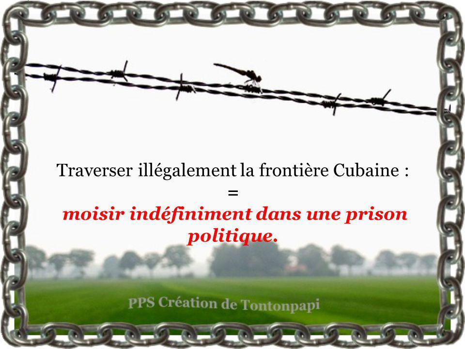 Traverser illégalement la frontière Cubaine : = moisir indéfiniment dans une prison politique.