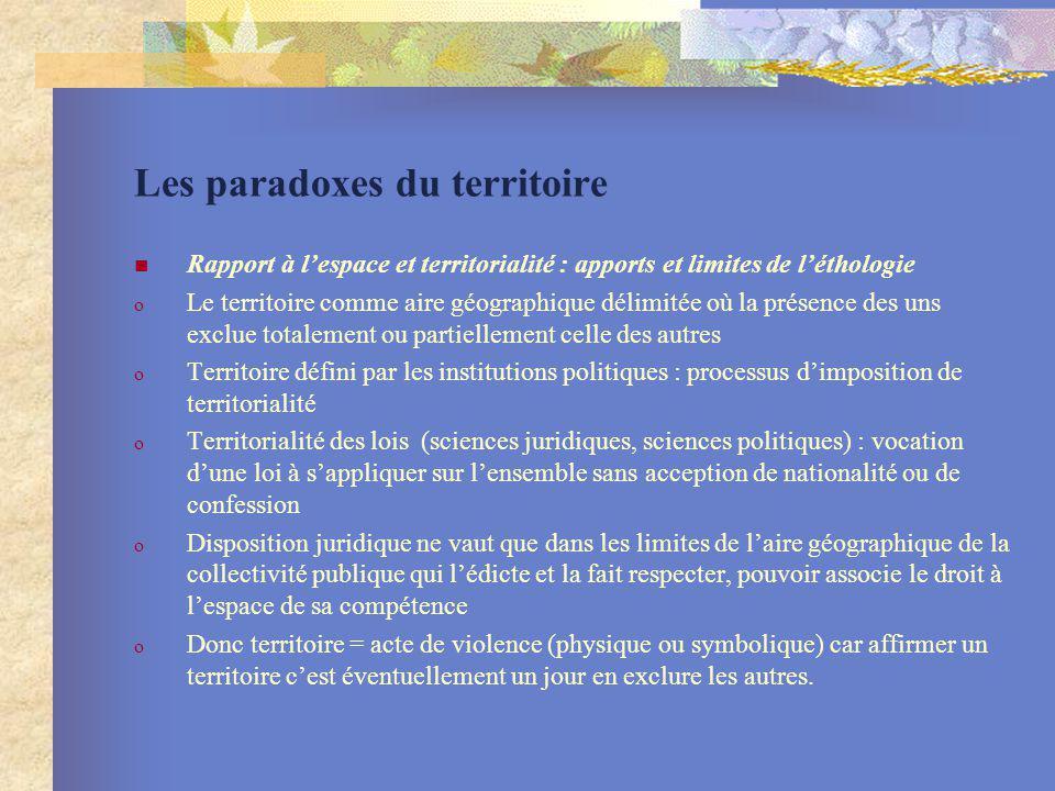 Les paradoxes du territoire