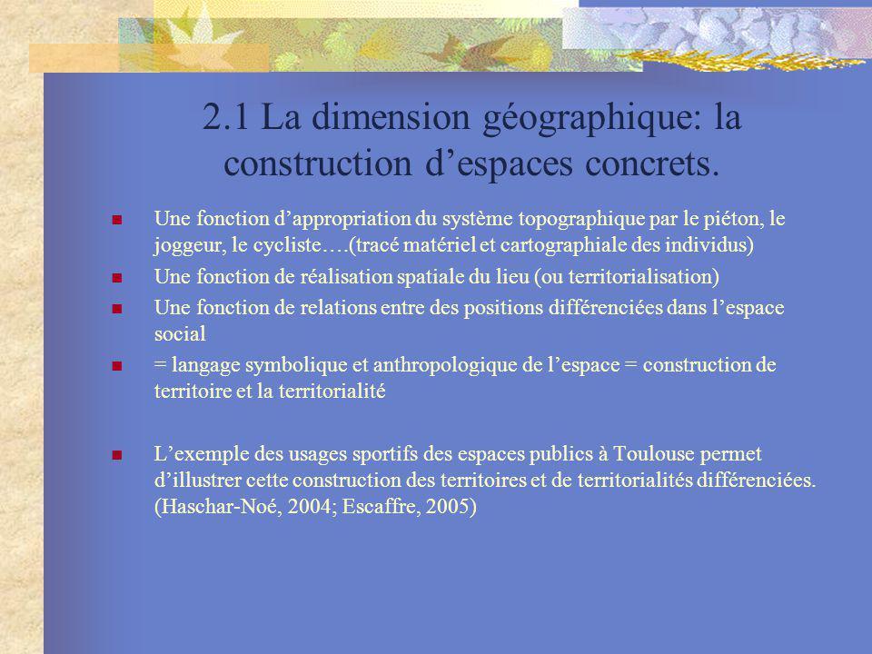 2.1 La dimension géographique: la construction d'espaces concrets.