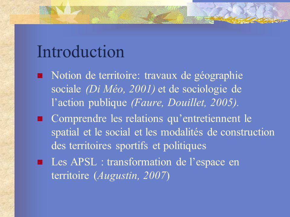 Introduction Notion de territoire: travaux de géographie sociale (Di Méo, 2001) et de sociologie de l'action publique (Faure, Douillet, 2005).