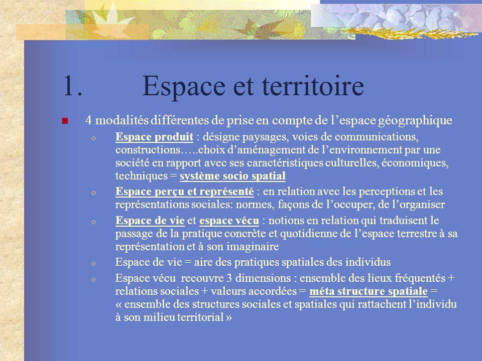 1. Espace et territoire 4 modalités différentes de prise en compte de l'espace géographique.