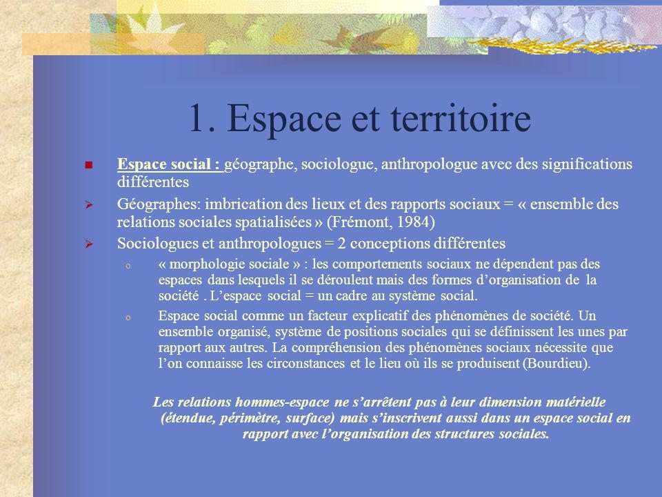 1. Espace et territoire Espace social : géographe, sociologue, anthropologue avec des significations différentes.