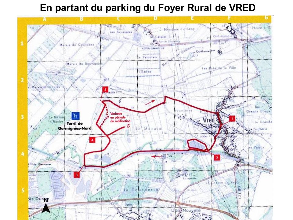 En partant du parking du Foyer Rural de VRED