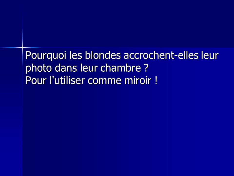 Pourquoi les blondes accrochent-elles leur photo dans leur chambre