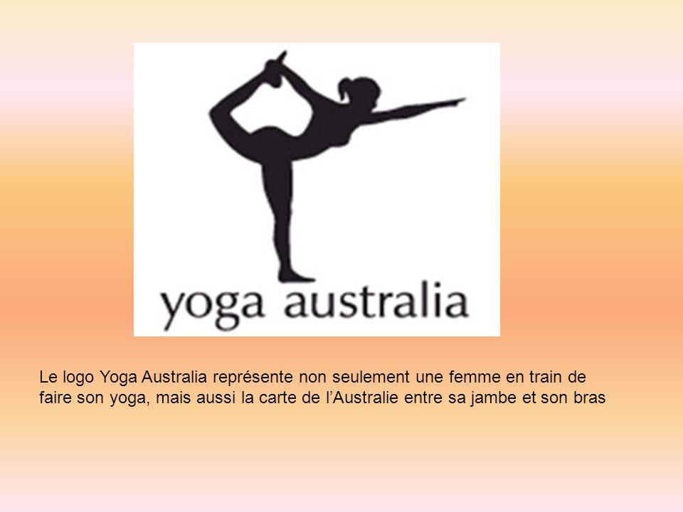 Le logo Yoga Australia représente non seulement une femme en train de faire son yoga, mais aussi la carte de l'Australie entre sa jambe et son bras.