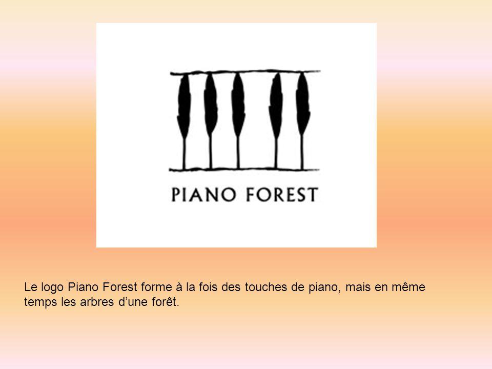Le logo Piano Forest forme à la fois des touches de piano, mais en même temps les arbres d'une forêt.