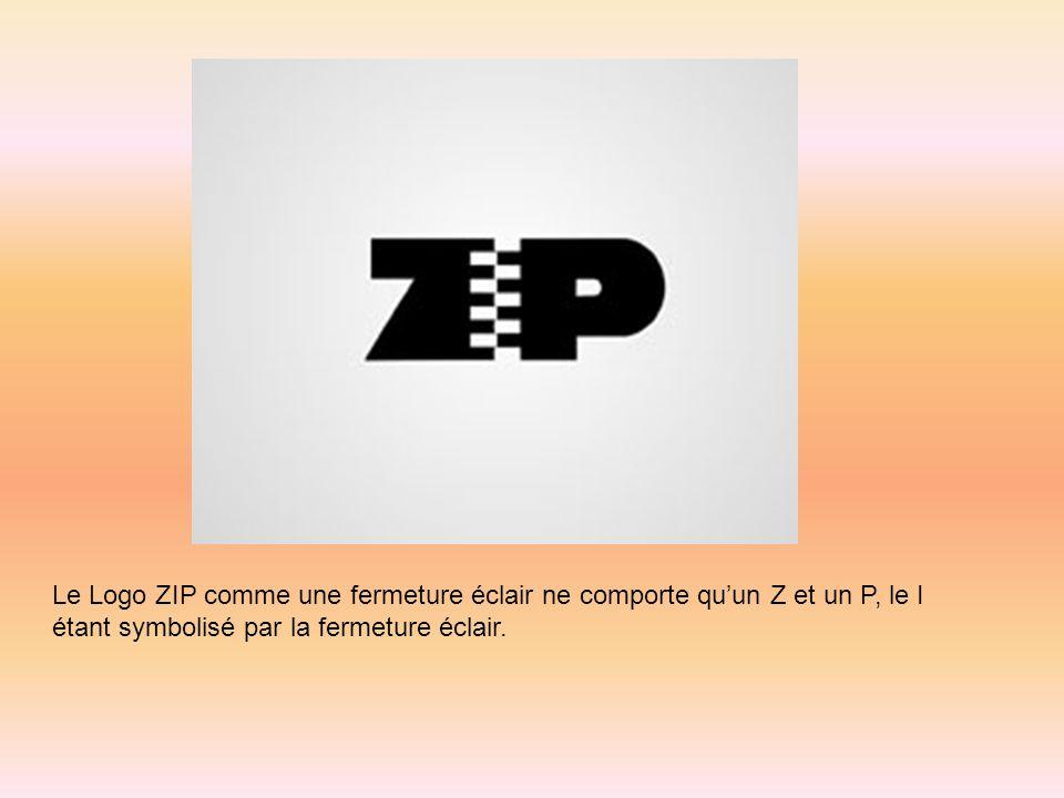 Le Logo ZIP comme une fermeture éclair ne comporte qu'un Z et un P, le I étant symbolisé par la fermeture éclair.