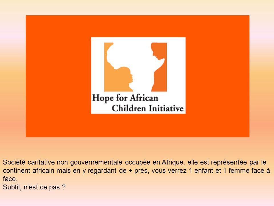 Société caritative non gouvernementale occupée en Afrique, elle est représentée par le continent africain mais en y regardant de + près, vous verrez 1 enfant et 1 femme face à face.