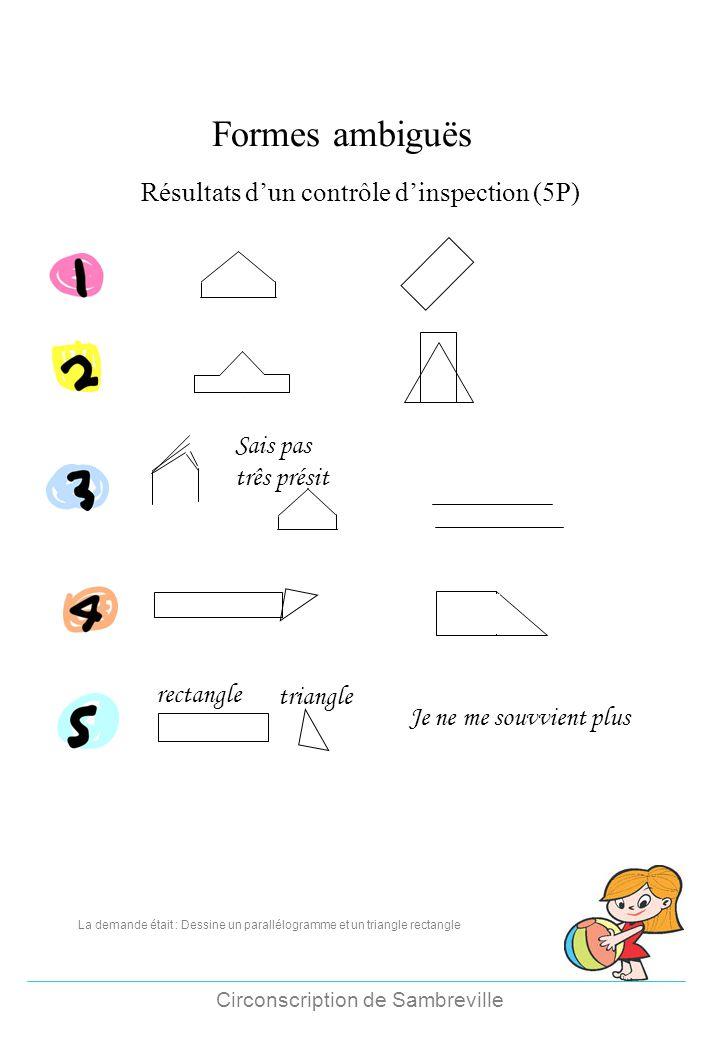 Formes ambiguës Résultats d'un contrôle d'inspection (5P)