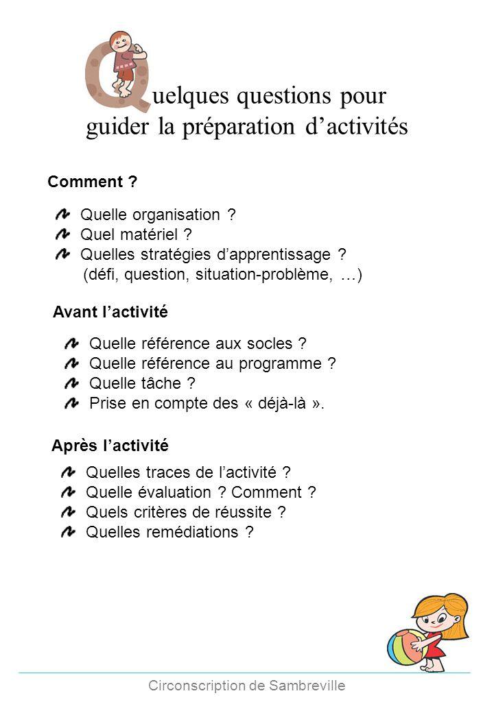 uelques questions pour guider la préparation d'activités