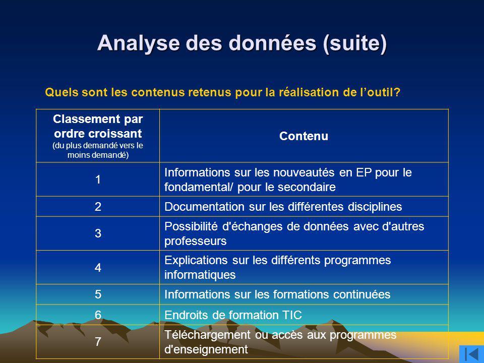 Analyse des données (suite)