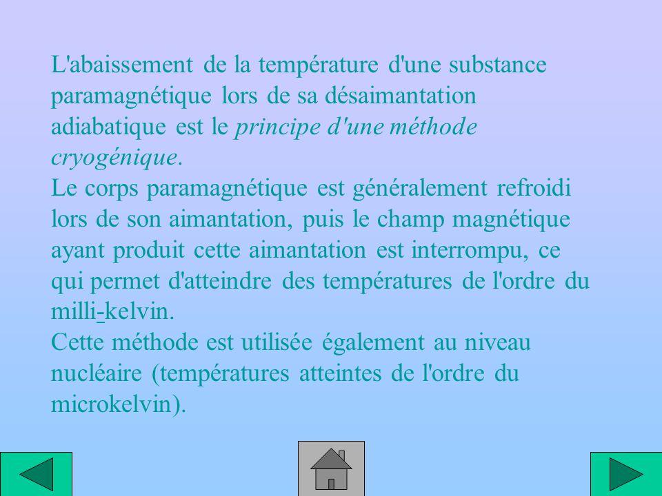 L abaissement de la température d une substance paramagnétique lors de sa désaimantation adiabatique est le principe d une méthode cryogénique.