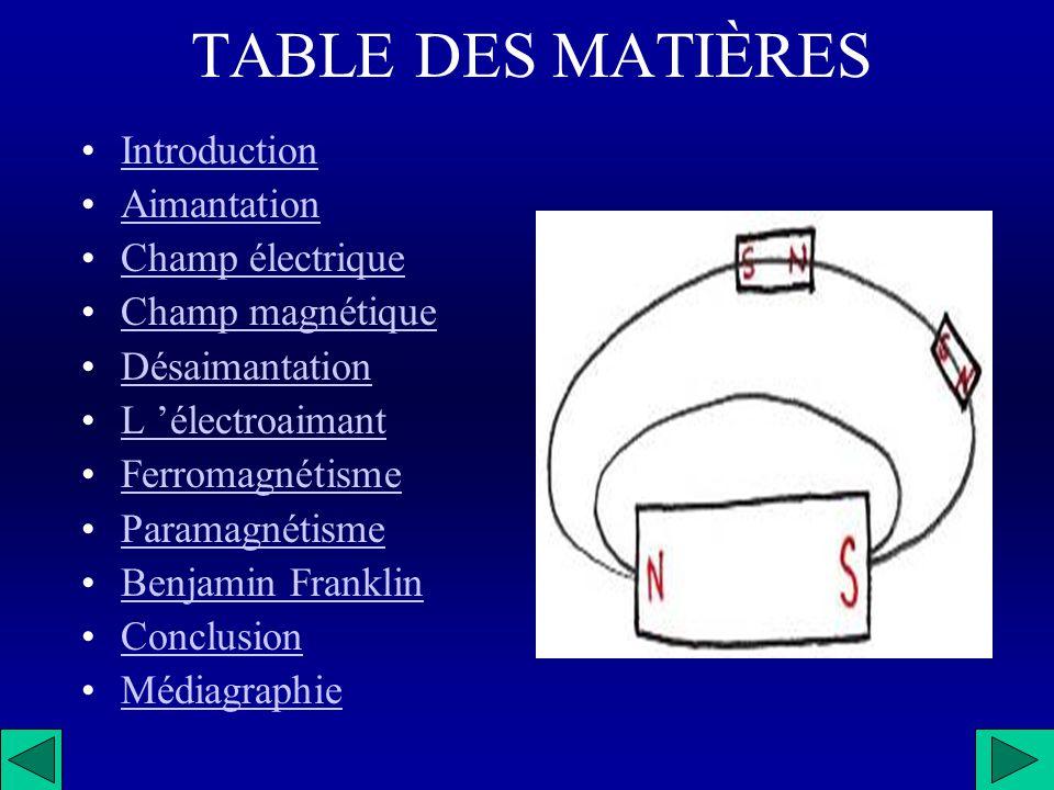 TABLE DES MATIÈRES Introduction Aimantation Champ électrique